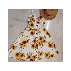 SUNFLOWER PRINT WHITE  TROPICAL SUMMER DRESS (DISCOUNTED SHIPPING)